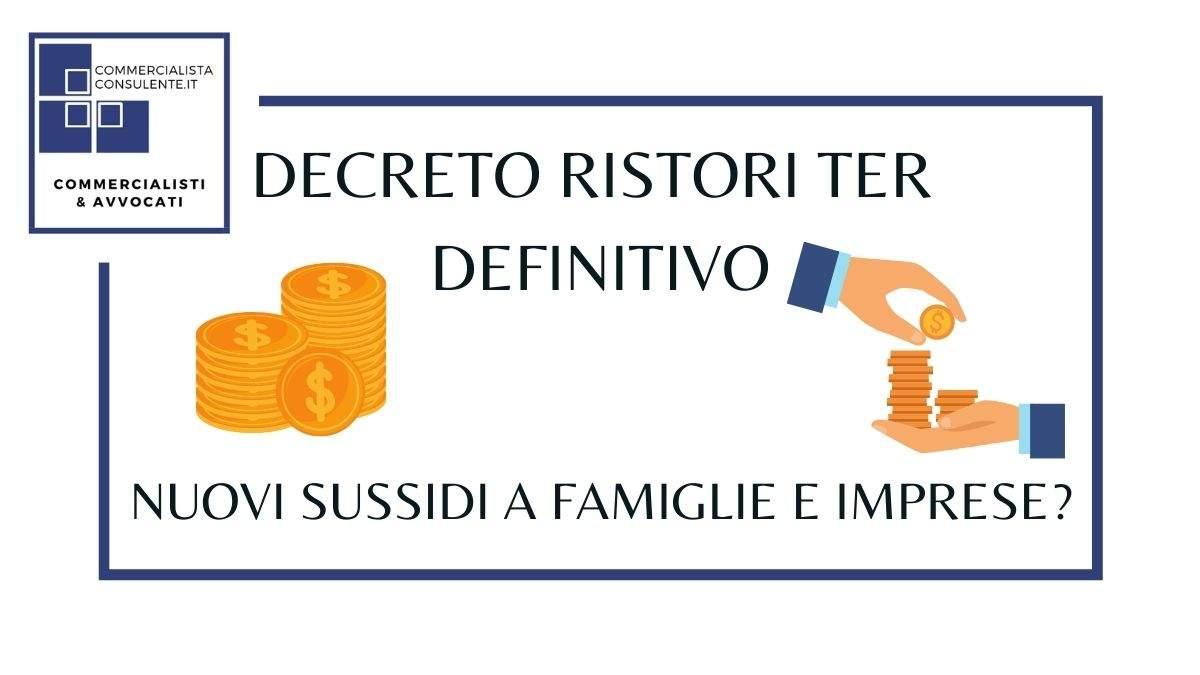 Decreto Ristori Ter sussidi a famiglie e imprese